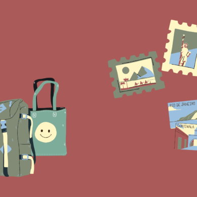 Backpack, bag, photos and postcards