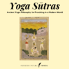 """Text """"Yoga Sutras Ancient Yogic philosophy for Pracicing in a Modern Word FUERTEVENTURA TIMES"""" Five woman does yoga"""