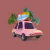 Pink car with surfing board, suitcases and palms
