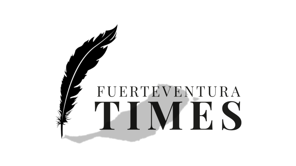 """Text """"FUERTEVENTURA TIMES"""" and feather"""