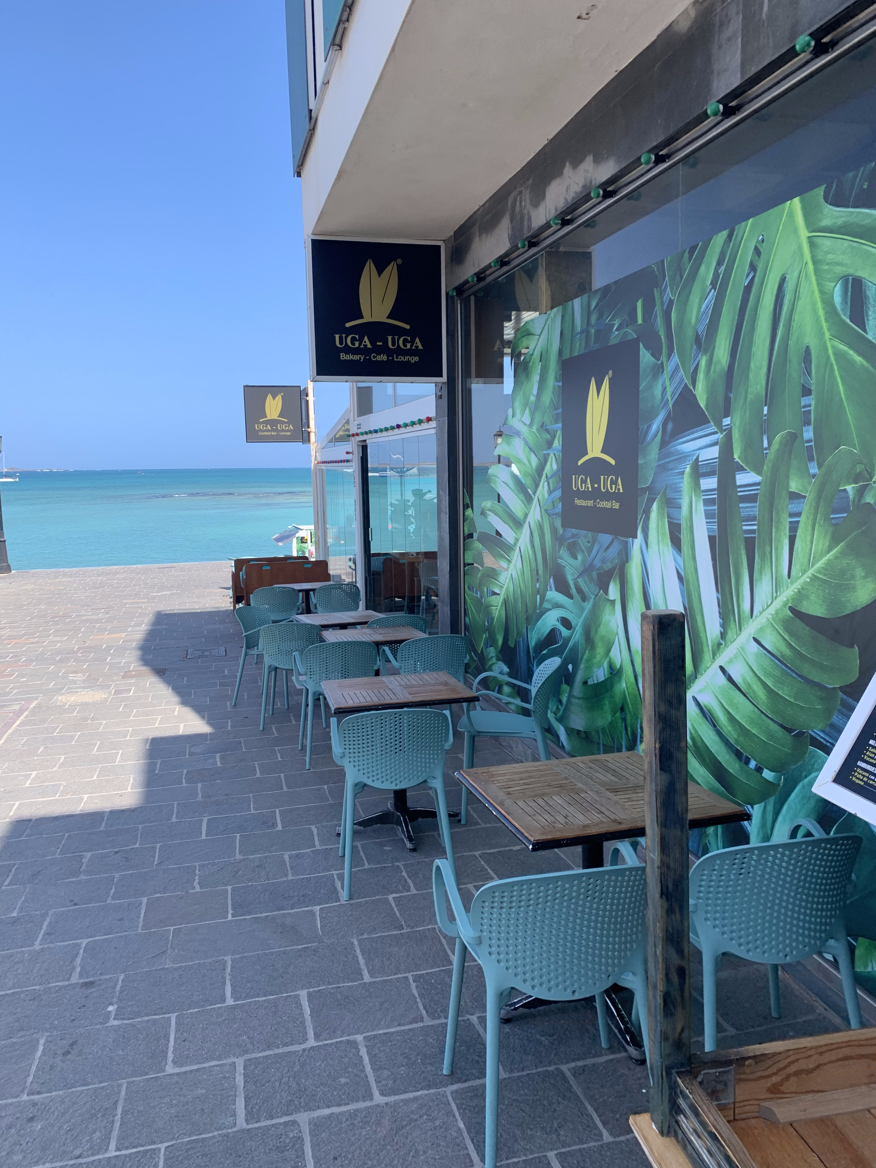 Sea side restaurant with outdoor seating and sea views in Corralejo in Fuerteventura